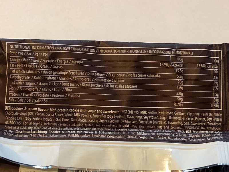 マイプロテイン_プロテインクッキー クッキー&クリームの成分表示